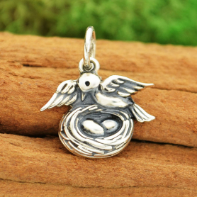 Sterling Silver Mama Bird Charm with Nest