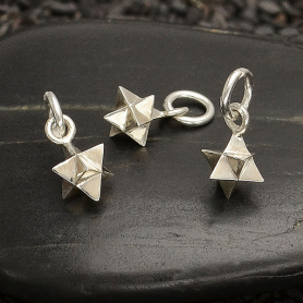 Sterling Silver Small Merkabah Charm - Sacred Geometry Charm