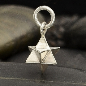Sterling Silver Large Merkabah Charm - Sacred Geometry Charm