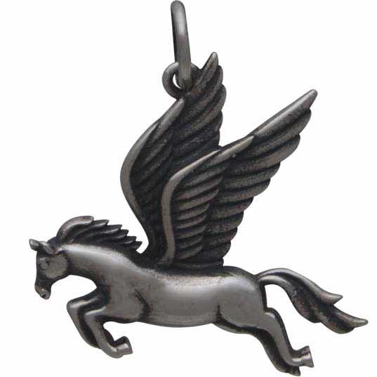 Sterling Silver Pegasus Charm - Flying Horse Charm 22x20mm