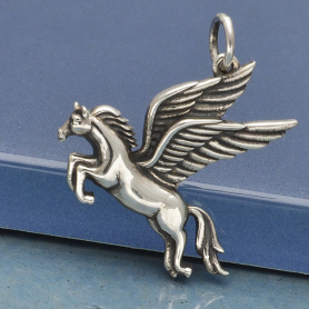 Sterling Silver Pegasus Charm - Flying Horse Charm 22x20mm
