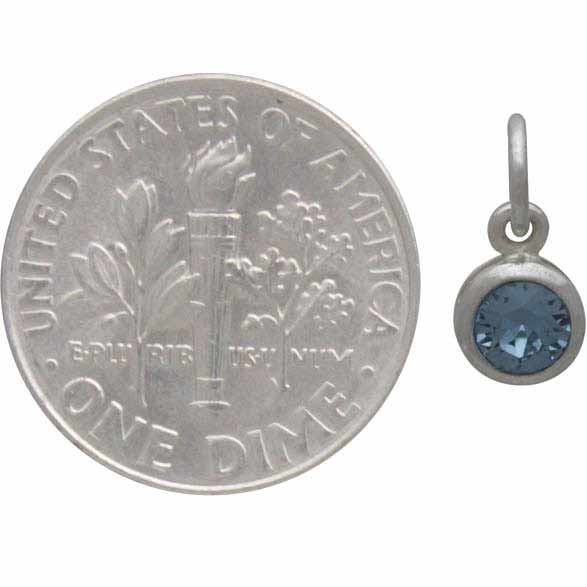 Sterling Silver Swarovski Crystal Birthstone Charm - March
