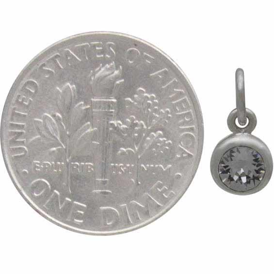 Sterling Silver Swarovski Crystal Birthstone Charm - April