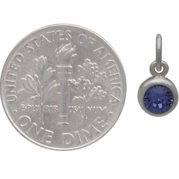 Sterling Silver Swarovski Crystal Birthstone Charm-September