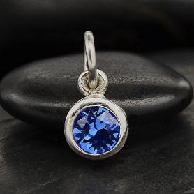 Silver Swarovski Crystal Birthstone Charm-September 11x5mm