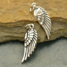 Sterling Silver Angel Wing Charm Right Side -30mm