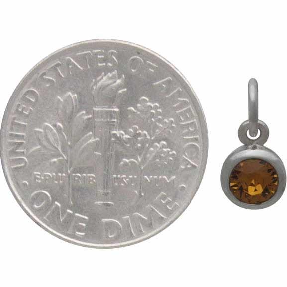 Sterling Silver Swarovski Crystal Birthstone Charm -November