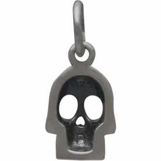 Sterling Silver Small Skull Charm 14x6mm