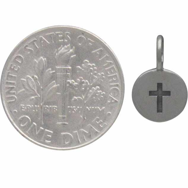 Sterling Silver Cross Charm on a Disk 13x8mm