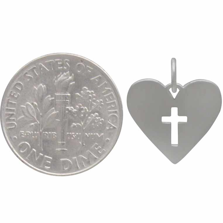 Sterling Silver Heart Charm with Cross Cutout