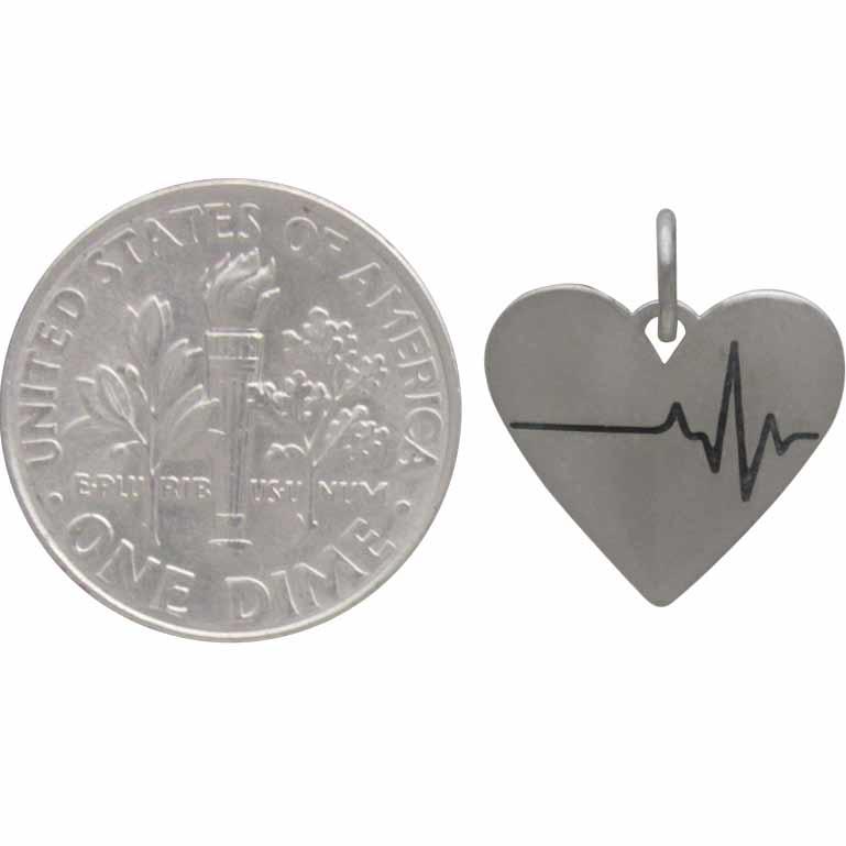 Sterling Silver Heartbeat Charm - Heart Charm 16x14mm