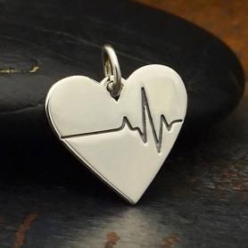 Sterling Silver Heartbeat Charm - Heart Charm