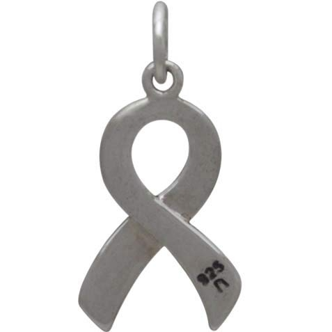 Sterling Silver Cancer Awareness Ribbon - Hope 20x10mm