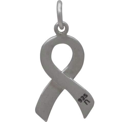 Sterling Silver Cancer Awareness Ribbon - Survivor 20x10mm