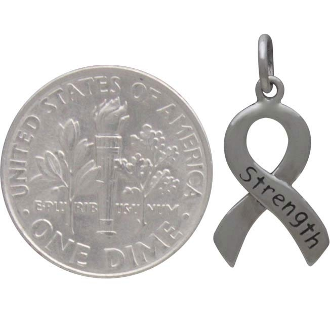 Sterling Silver Cancer Awareness Ribbon - Strength 20x10mm