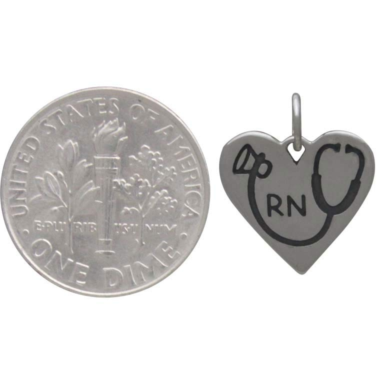 Silver RN Heart Charm with Stethoscope 16x13mm