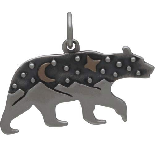 Silver Bear Charm with Mountains and Bronze Moon 16x22mm