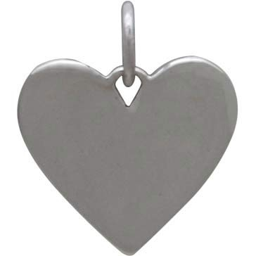Sterling Silver Heart Charm with Mountains and Bronze Moon