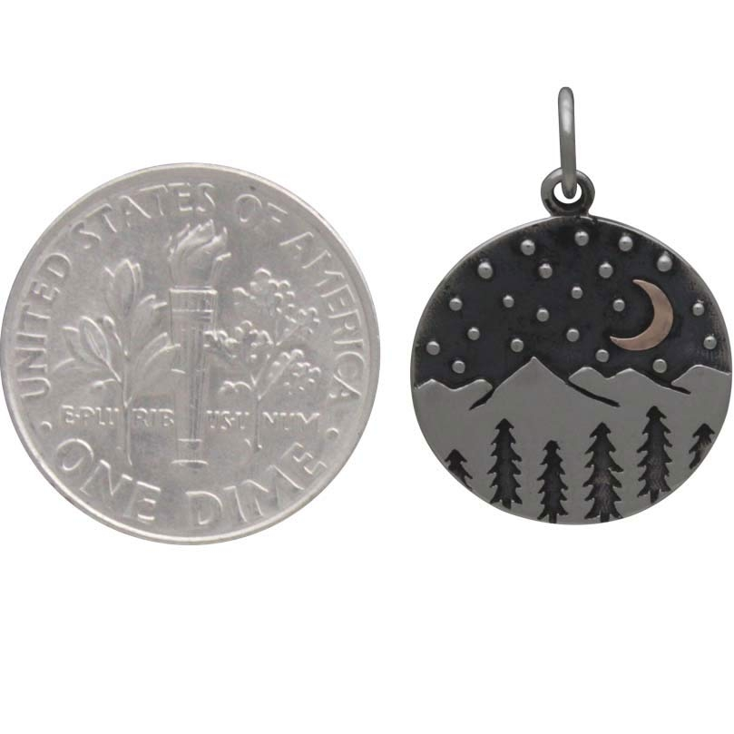 Silver Mountain Charm with Trees and Bronze Moon 21x15mm