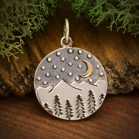 Sterling Silver Mountain Charm with Trees and Bronze Moon