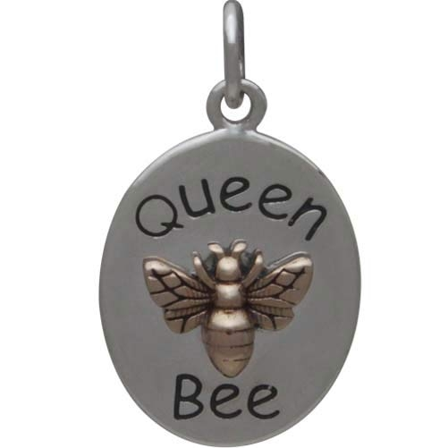 Sterling Silver Queen Bee Charm with Bronze Bee 21x12mm