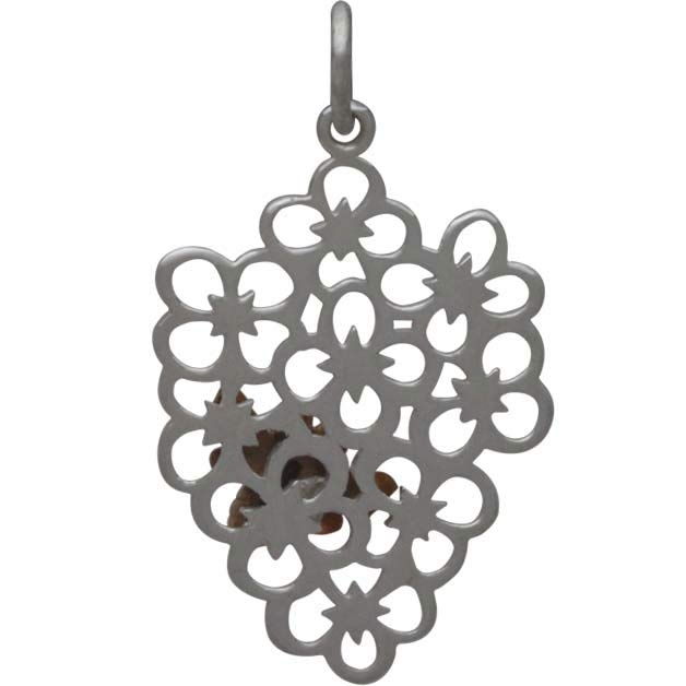 Sterling Silver Flower Charm with Bronze Bee 27x16mm
