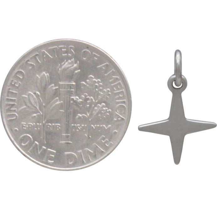 Sterling Silver Four Pointed Star Charm 16x11mm