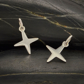 Sterling Silver Four Pointed Star Charm