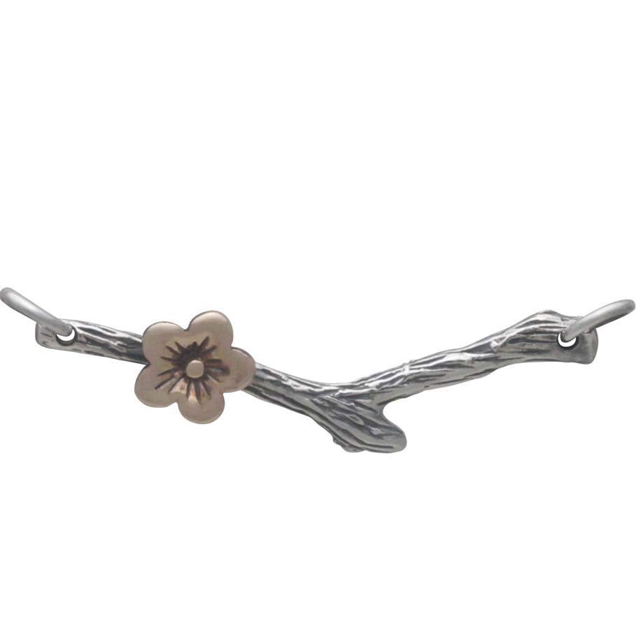 Silver Branch Festoon with Bronze Cherry Blossom 10x33mm