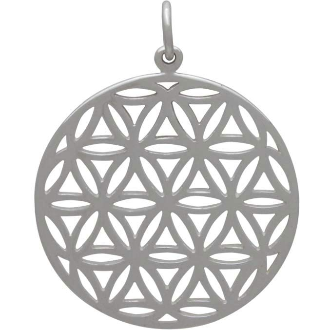 4 x Silver Tone Flower Of Life Hexagon Pendants Charms 29mm x 25mm