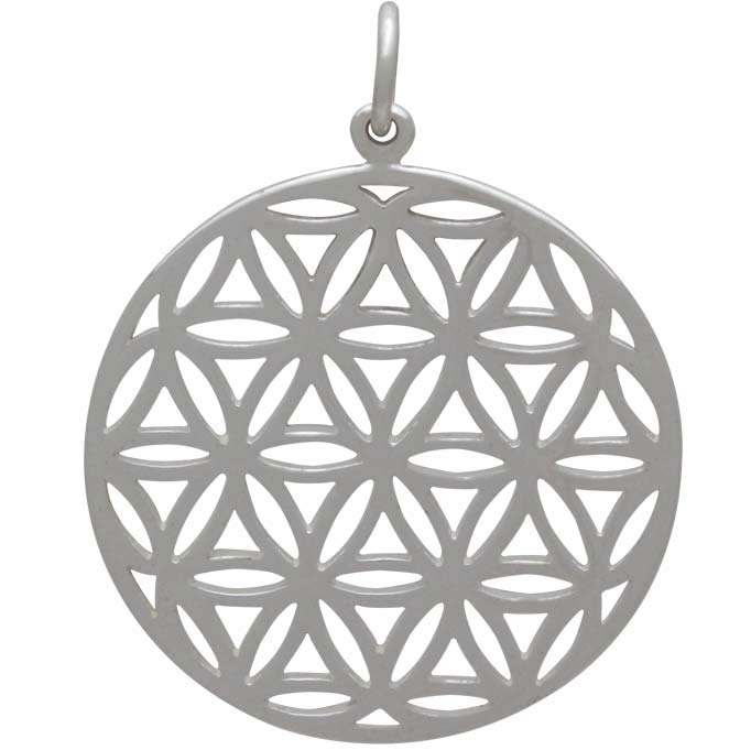 Silver Flower of Life Sacred Geometry Pendant 29x23mm