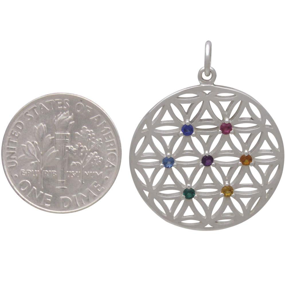 Silver Flower of Life Pendant with Chakra Crystals 29x23mm