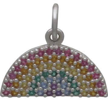 Sterling Silver Rainbow Charm with Nano Gem Crystals
