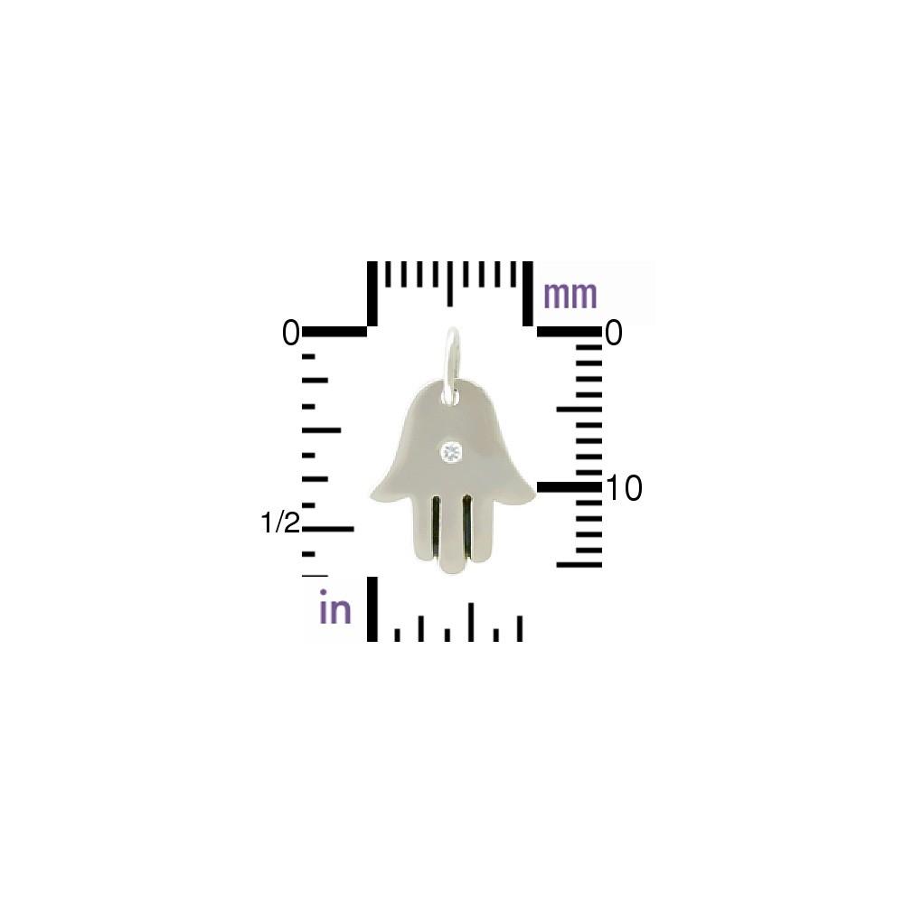 Sterling Silver Hamsa Hand Charm w Genuine Diamond 17x11mm