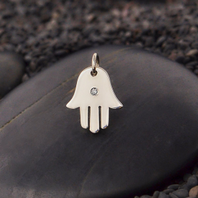 Sterling Silver Hamsa Hand Charm with Genuine Diamond