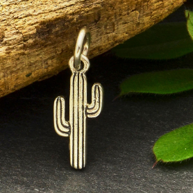 Sterling Silver Tiny Cactus Charm -18mm
