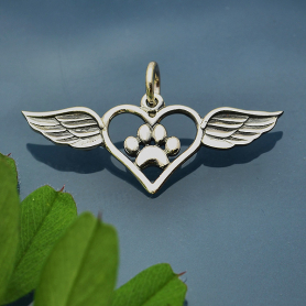Sterling Silver Paw Print Charm with Heart and Wings 15x27mm