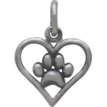 Sterling Silver Openwork Heart Charm with Paw Print