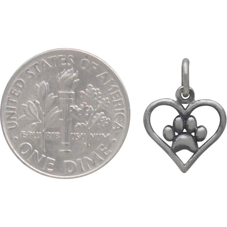 Sterling Silver Openwork Heart Charm with Paw Print 15x11mm