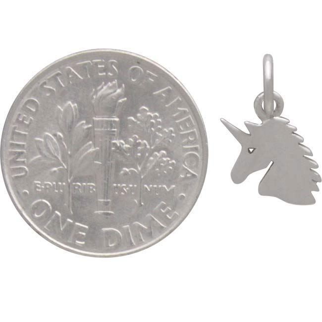 Sterling Silver Unicorn Charm - Flat Unicorn Head