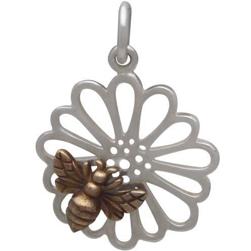 Sterling Silver Daisy Charm with Bronze Bee