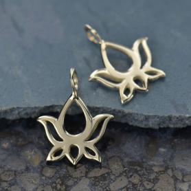 Sterling Silver Lotus Blossom Dangle Charm