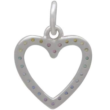 Sterling Silver Rainbow Heart Charm with Nano Gems