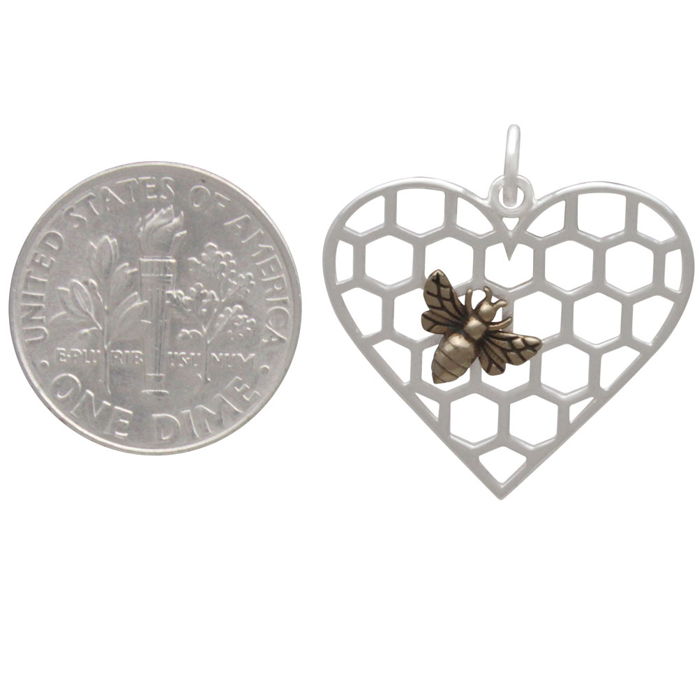 Sterling Silver Honeycomb Heart Pendant with Bronze Bee