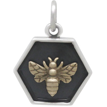 Sterling Silver Hexagon Charm with Bronze Bee 17x13mm