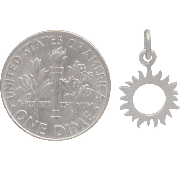Sterling Silver Small Eclipse Charm -17mm