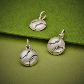 Sterling Silver Baseball Charm 16x10mm