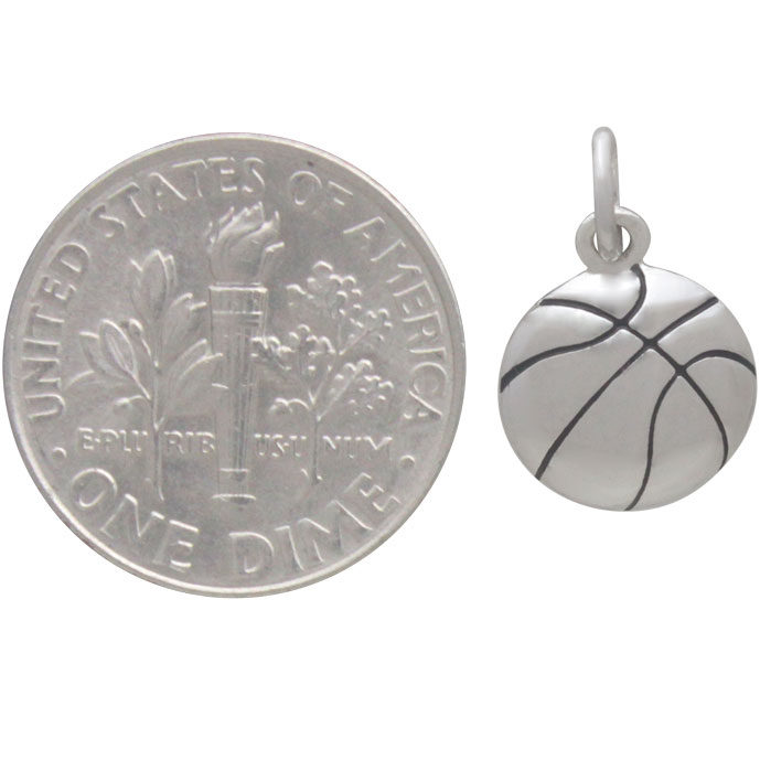 Sterling Silver Basketball Charm 16x10mm