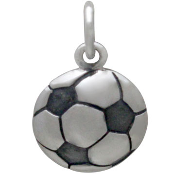 Sterling Silver Soccer Ball Charm 16x10mm