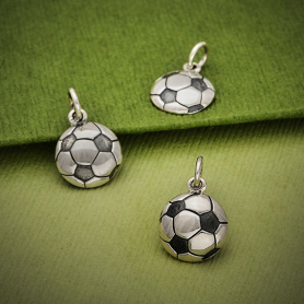 Sterling Silver Soccer Ball Charm 16x10mm